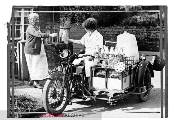 Delivering milk at Pewsey in Wiltshire in 1938 sidecar