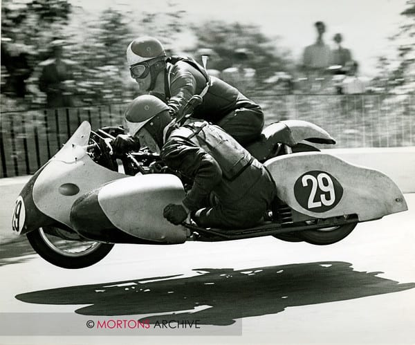 Stan Nightingale and passenger R C Bean on a 500cc Norton in the 1963 Sidecar TT