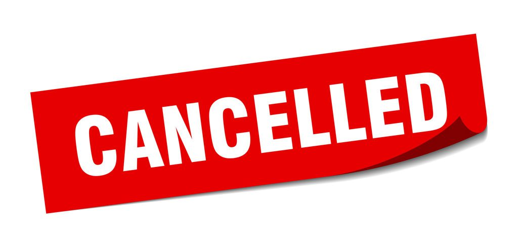 """Image of a sign saying """"cancelled"""" in relation to the cancelled Scorton event"""