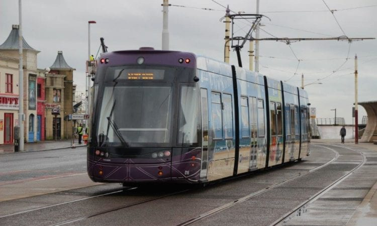 In happier times, Blackpool Transport's Bombardier Flexity 2 No. 016 is seen at the resort's Pleasure Beach. GARETH EVANS