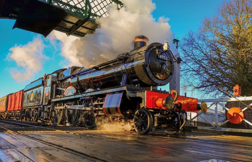 GWR 'Hall' 4-6-0 No. 4953 Pitchford Hall returned to action in late 2019 sporting 1950s British Railways lined black livery with red-backed name and cabside number plates. EOR