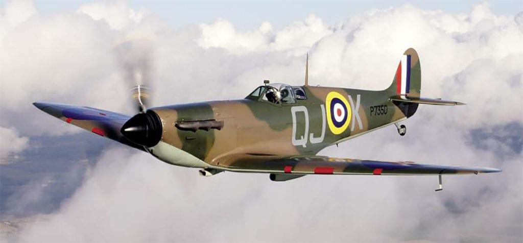 An almost timeless study of the Spitfire IIa in the skies over England wearing a 1940 era identity. Andrea Featherby