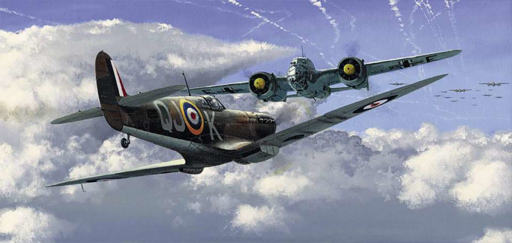 'Against all Odds' is a painting by Philip E West of SWA Fine Art Publishers depicting Geoffrey Wellum's head-on encounter with a Dornier Do 215 on 11 September 1940 while flying Spitfire I K9998 QJ-K, which P7350 now represents. Courtesy SWA Fine Art Publishers/www.swafineart.com