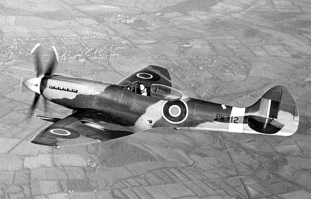 Alex Henshaw photographed test-flying spitfire F22 PK132 offer it had been modified at Castle Bromwich in April 1945