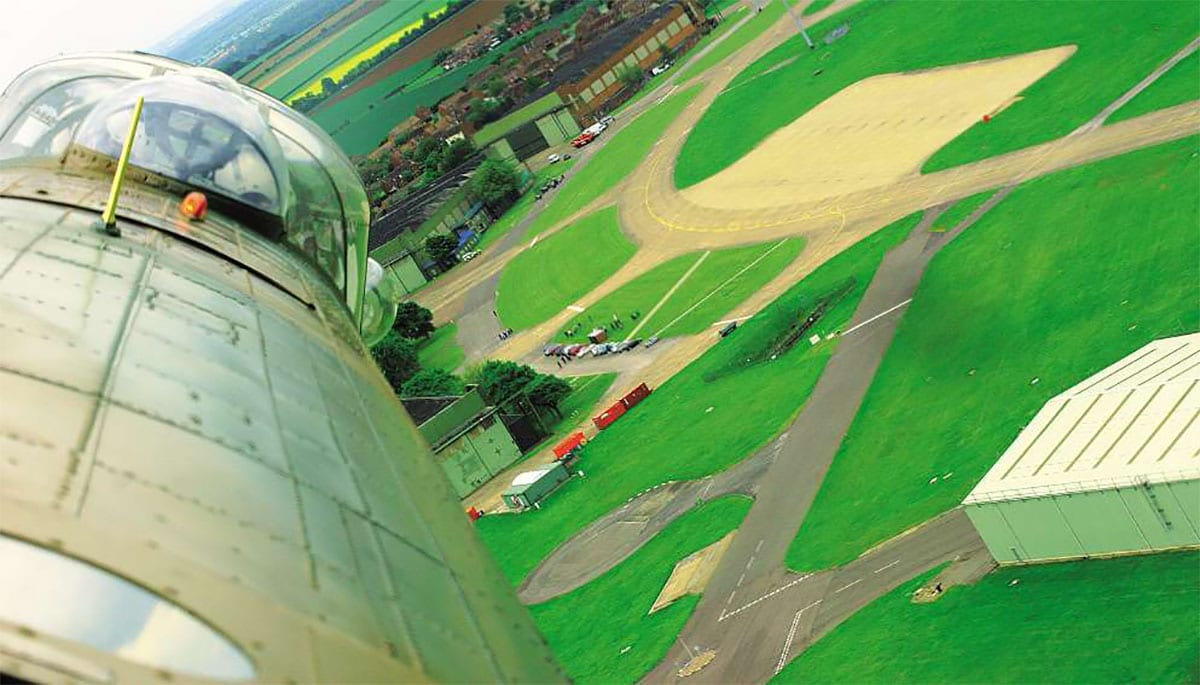 View from the mid-upper turret of PA474 as it flies over RAF Scampton on 16 May 2008 – the 65th anniversary of the Dams raid. Cpl Mark Crosby/Crown Copyright
