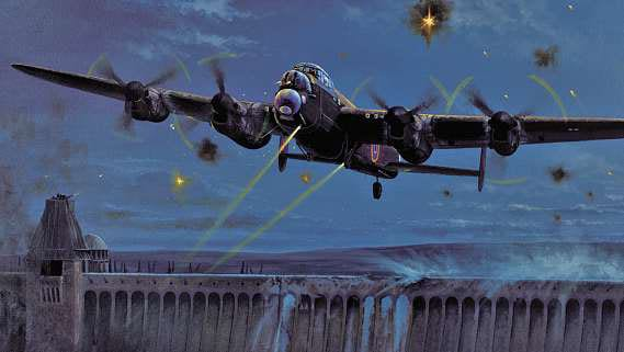 Another painting by Philip E West is 'Operation Chastise', depicting Flt Lt Maltby and crew in AJ-J flying clear of the Möhne before their Upkeep mine explodes against, and breaches the dam. Courtesy SWA Fine Art Publishers