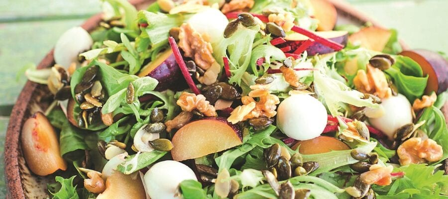Plum Salad with Maple Syrup Crunch