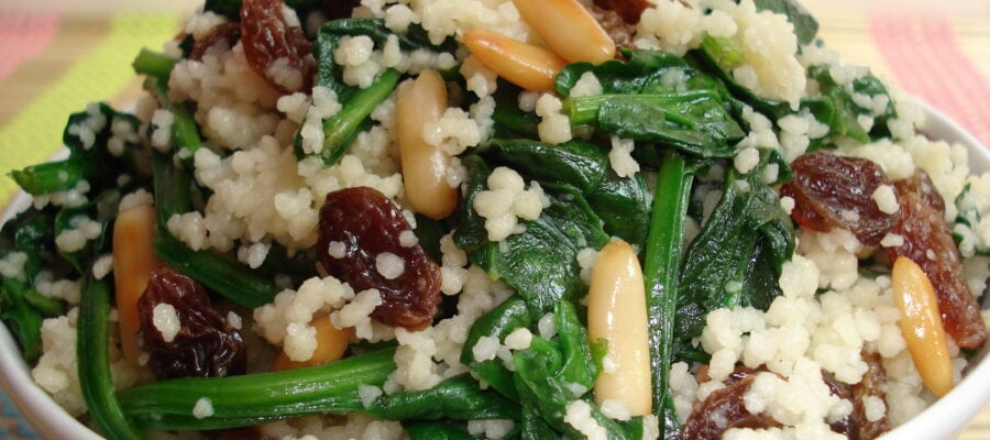 Spinach with Cous Cous, Pine Nuts & Sultanas