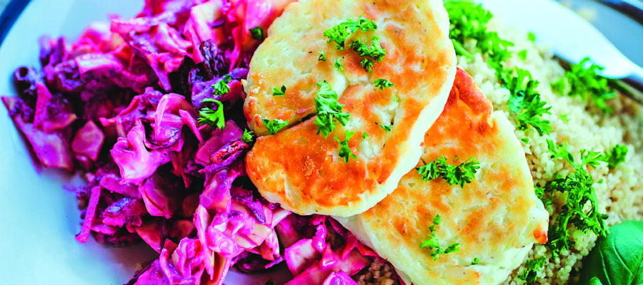 Beetroot Coleslaw With Grilled Halloumi & Couscous
