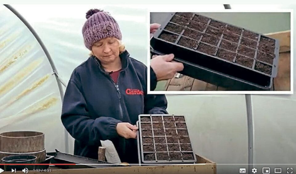 Emma on a YouTube video showing a cell planter.