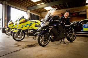 Inspector Mark Rogers with one of Cambridgeshire Police's unmarked bikes: A Kawasaki GTR1400
