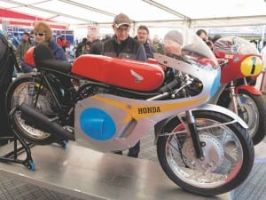 …And Honda 250-6 took pride of place in the Pirelli awning