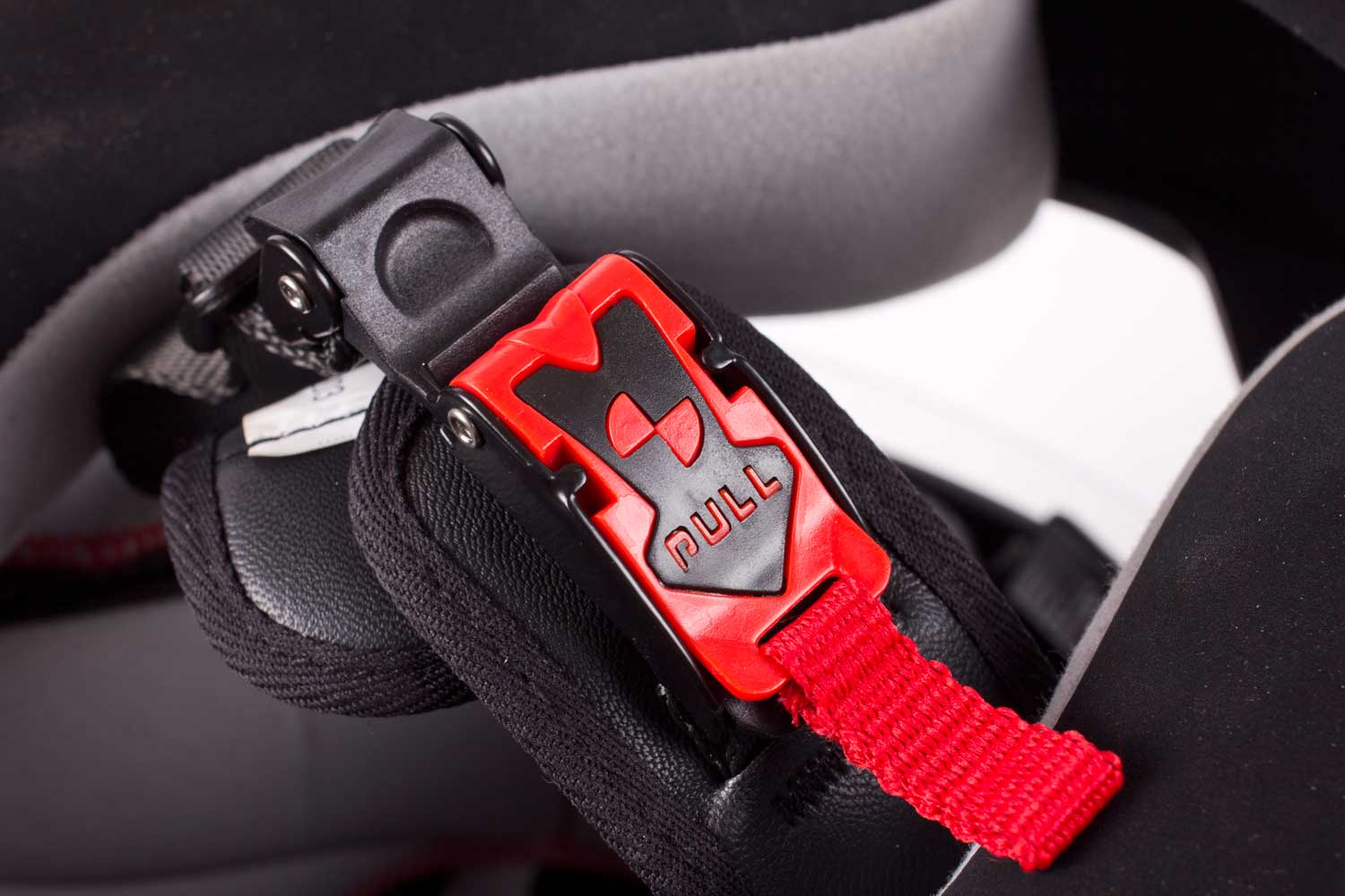 Ratchet fastener is quicker than a D-ring, and more adjustable than a buckle