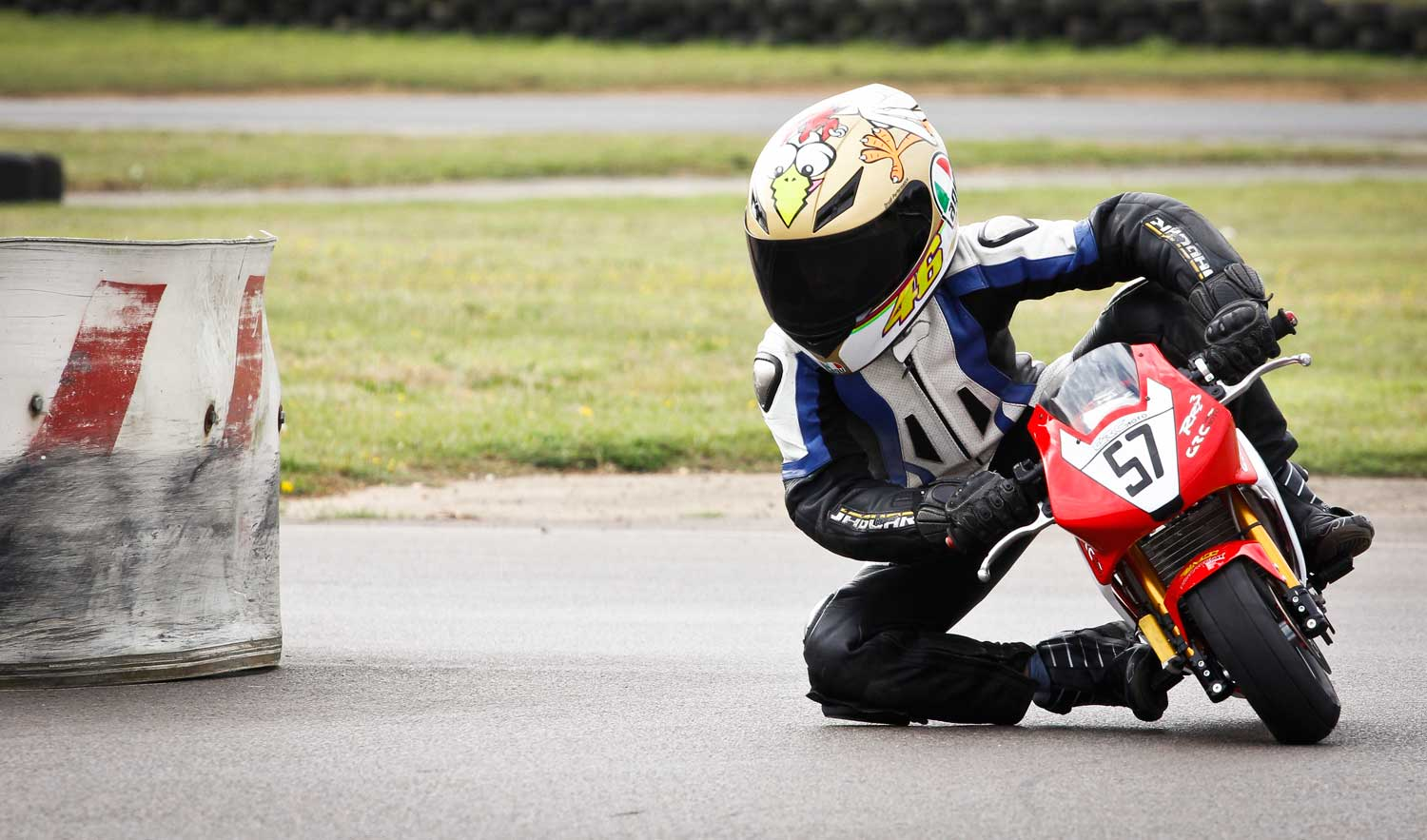 Junior racer Josh Hiatt on his first session with a new machine