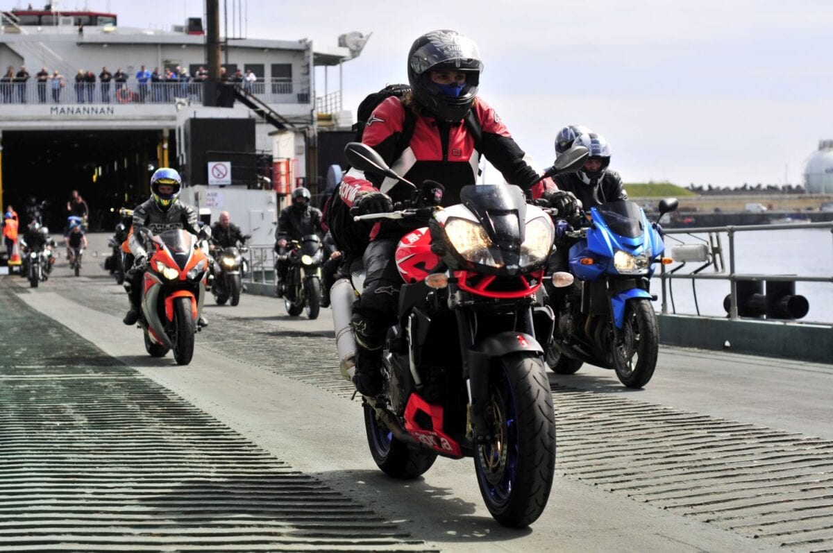 PACEMAKER BELFAST 02/06/11: Bikers coming off the Isle of Man Steam Packet boat Manannan in Douglas Port heading to the 2011 Isle of Man TT. PICTURE BY SIMON PATTERSON