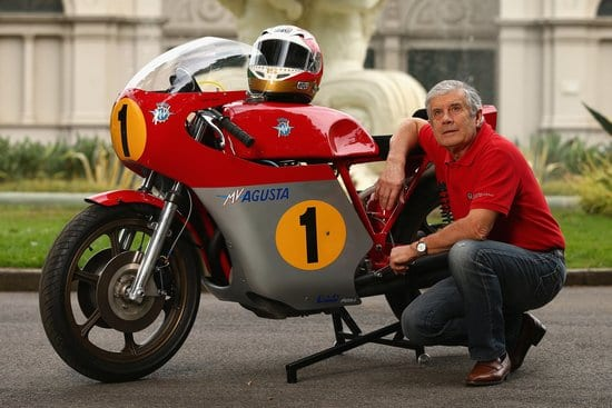 MELBOURNE, AUSTRALIA - JANUARY 25:  Giacomo Agostini of Italy poses for a portrait during a portrait session at the Carlton Gardens on January 25, 2013 in Melbourne, Australia. Agostini won a world record 15 World Titles during his racing career between 1965 to 1976.  (Photo by Robert Cianflone/Getty Images)