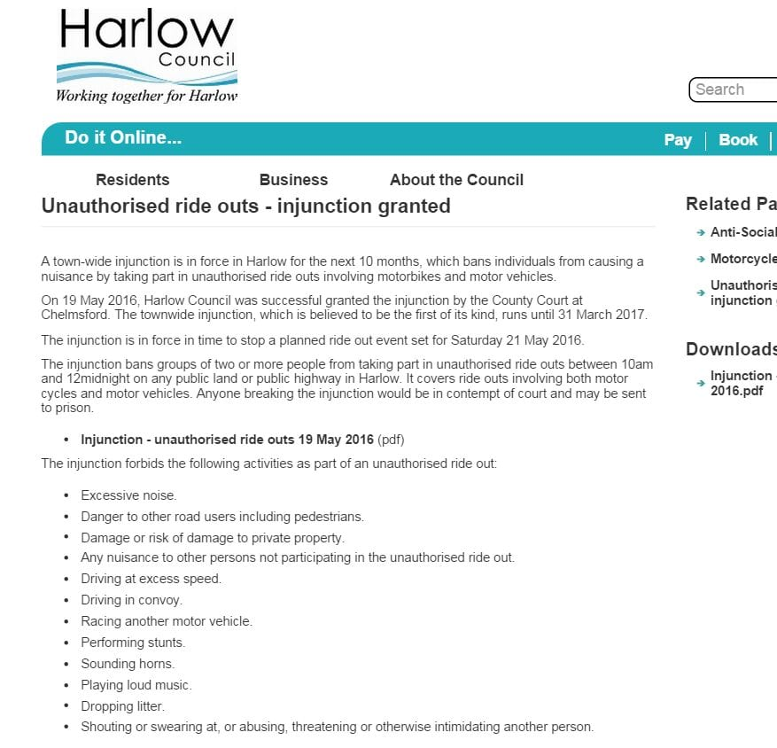 2016-05-23 08_43_57-Unauthorised ride outs - injunction granted _ Harlow Council