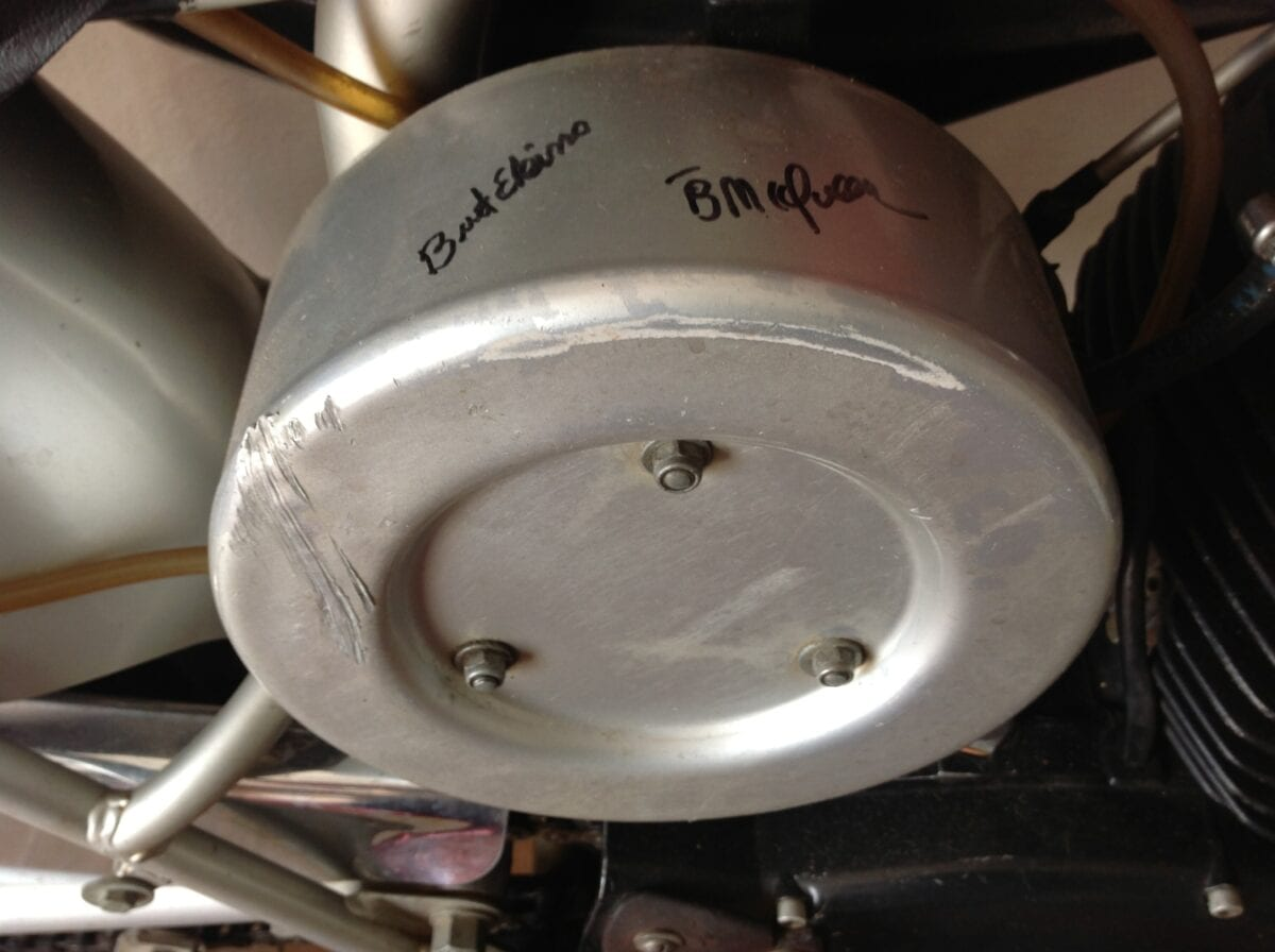 The signatures of Bud Ekins and Chad McQueen