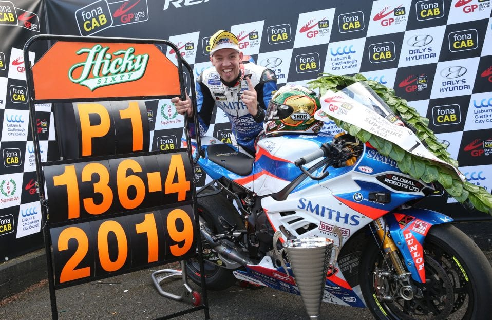 Peter Hickman after his record breaking lap at the 2019 Ulster Grand Prix.