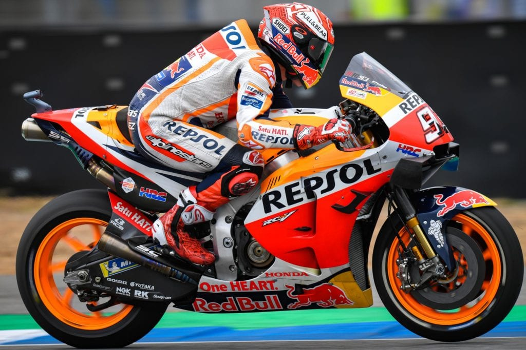 Marc Marquez flat out in FP1 at the Thailand GP,