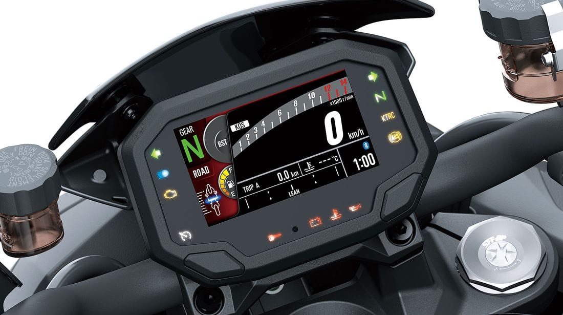 The TFT dash on the Z H2 motorcycle is controlled through a series of switches on the left-hand handlebar.