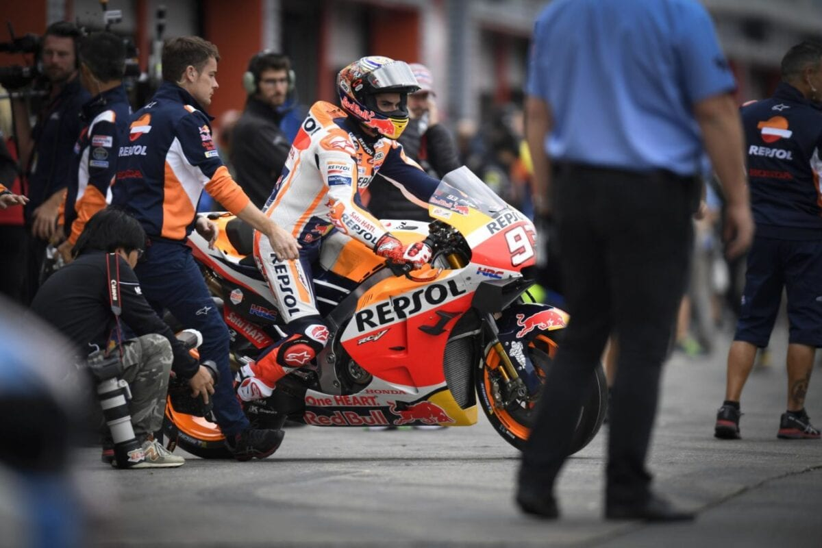 Marc Marquez on his Honda Moto GP race motorcycle. Coming out of the pits at the Motegi circuit for the Japan GP.