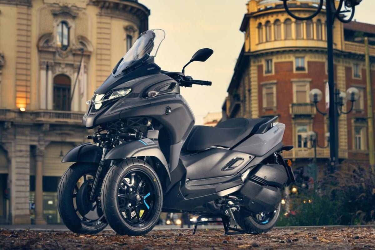 This is Yamaha's Tricity 300. It's got three wheels. And the front two lean.
