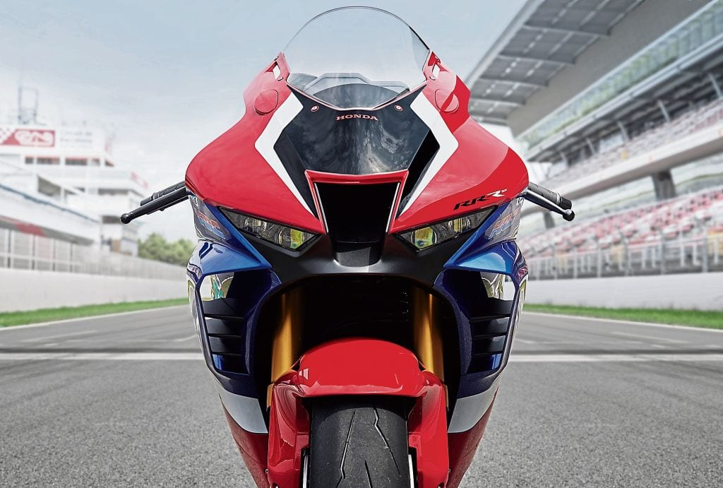 This is the face of the 2020 Honda Fireblade motorcycle. Specifically, this is the face of the SP version (which you can tell at a glance because of the gold coloured Ohlins forks).