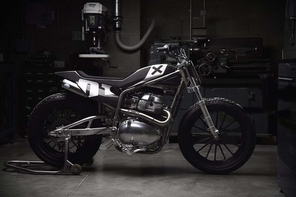 Royal Enfield and Harris Performance Custom Flat Tracker. Called the Flat Track.