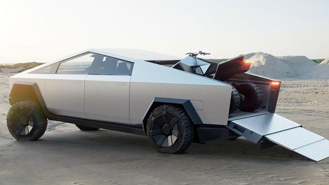 This is the Tesla Cybertruck, Loaded into it is the Cyberquad. 1980's sci-fi film, anyone?