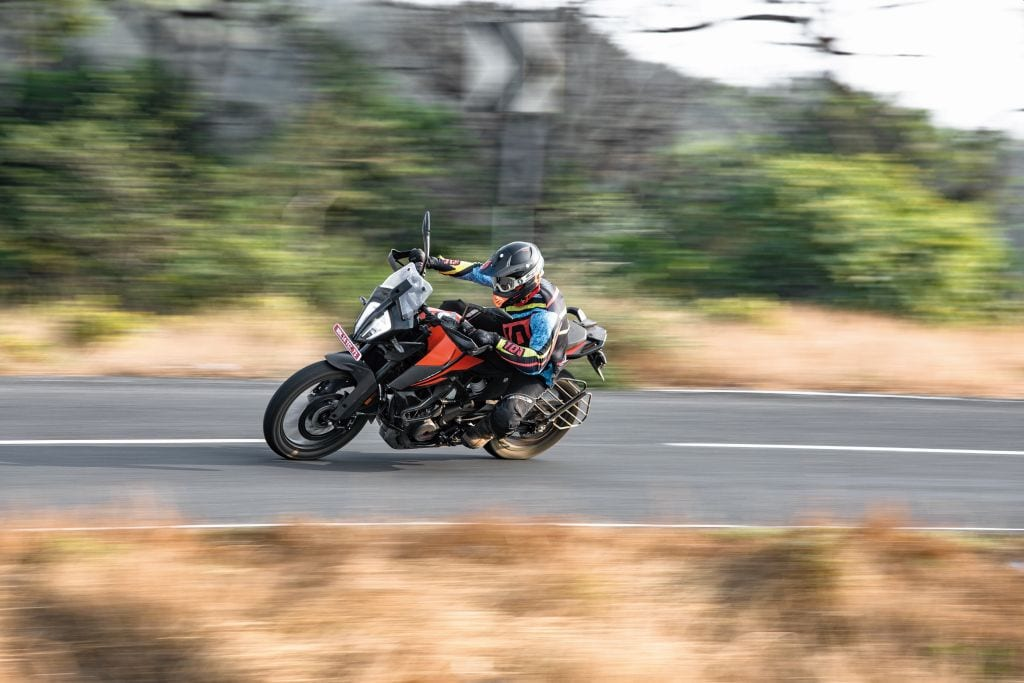 The KTM 390 Adventure bike hustles on the road, it'll mix with much bigger bikes with ease.