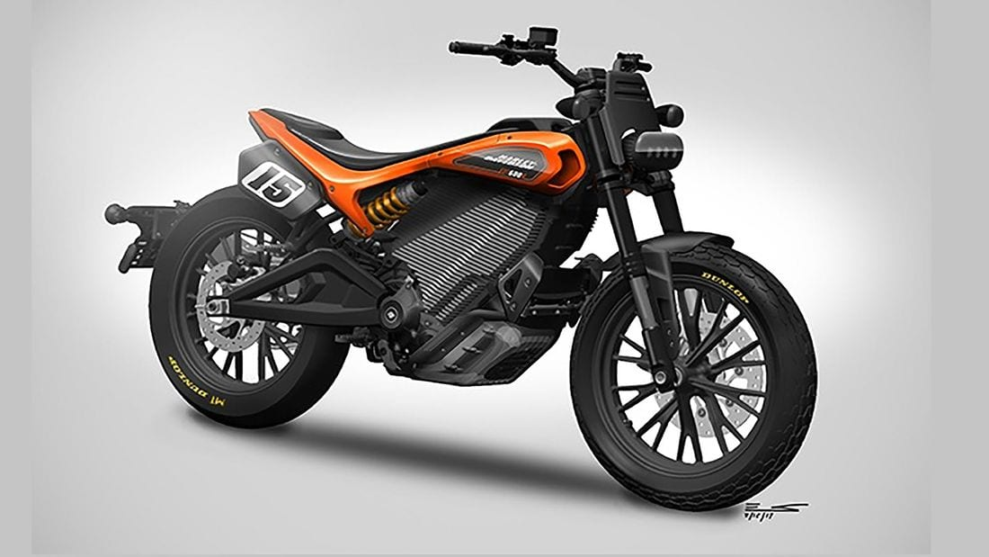 OFFICIAL: Design drawing of Harley-Davidson's ELECTRIC flat tracker motorcycle.
