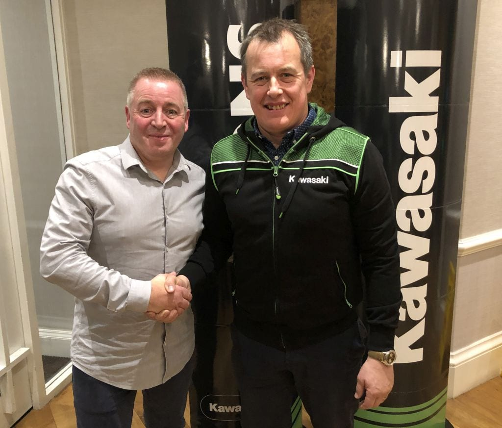 Pete Extance, Team Boss (left) and John McGuinness have signed up to contest the roads this year for Kawasaki. The Quattro Plant Bournemouth Kawasaki squad has lined up the second-most successful Isle of Man racer of all time for its 2020 motorcycle roads campaign.