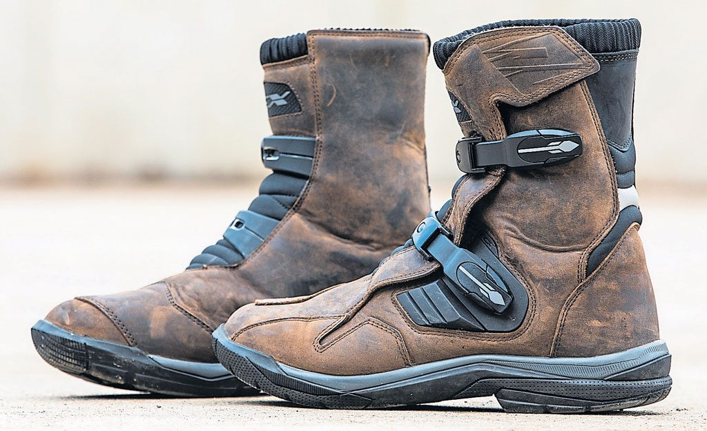 Image of a pair of brown biker boots.