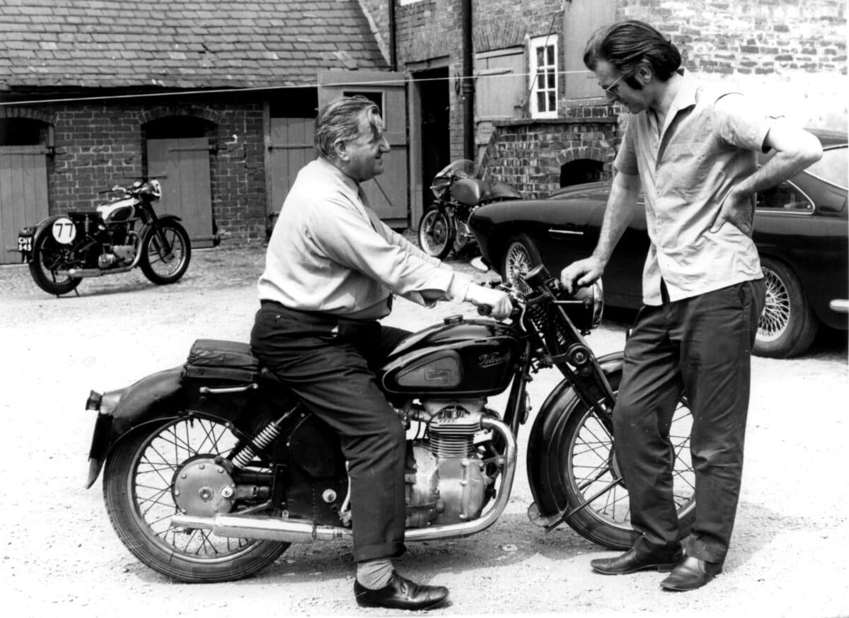Bob Currie on the Velocette Model O,with John Griffith,at Stanford Hall.1